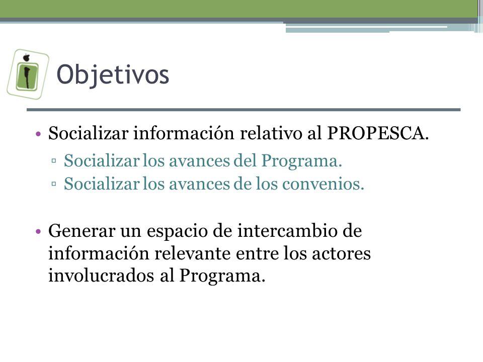 Objetivos Socializar información relativo al PROPESCA.