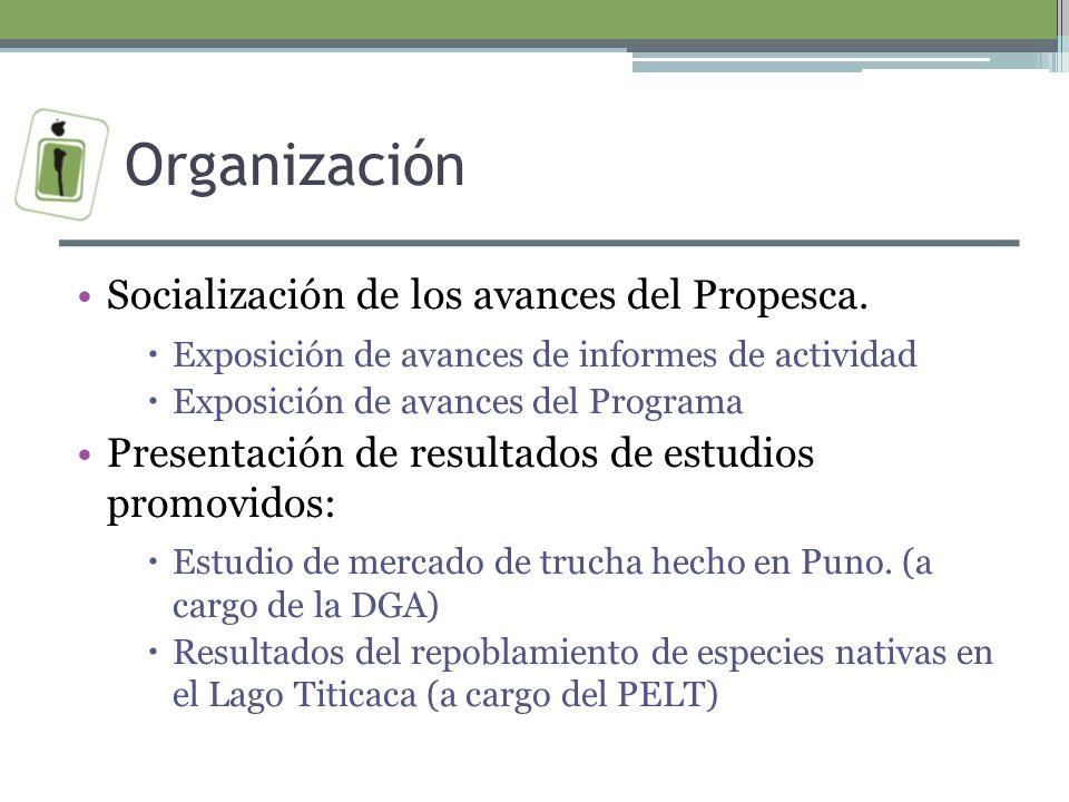 Organización Socialización de los avances del Propesca.
