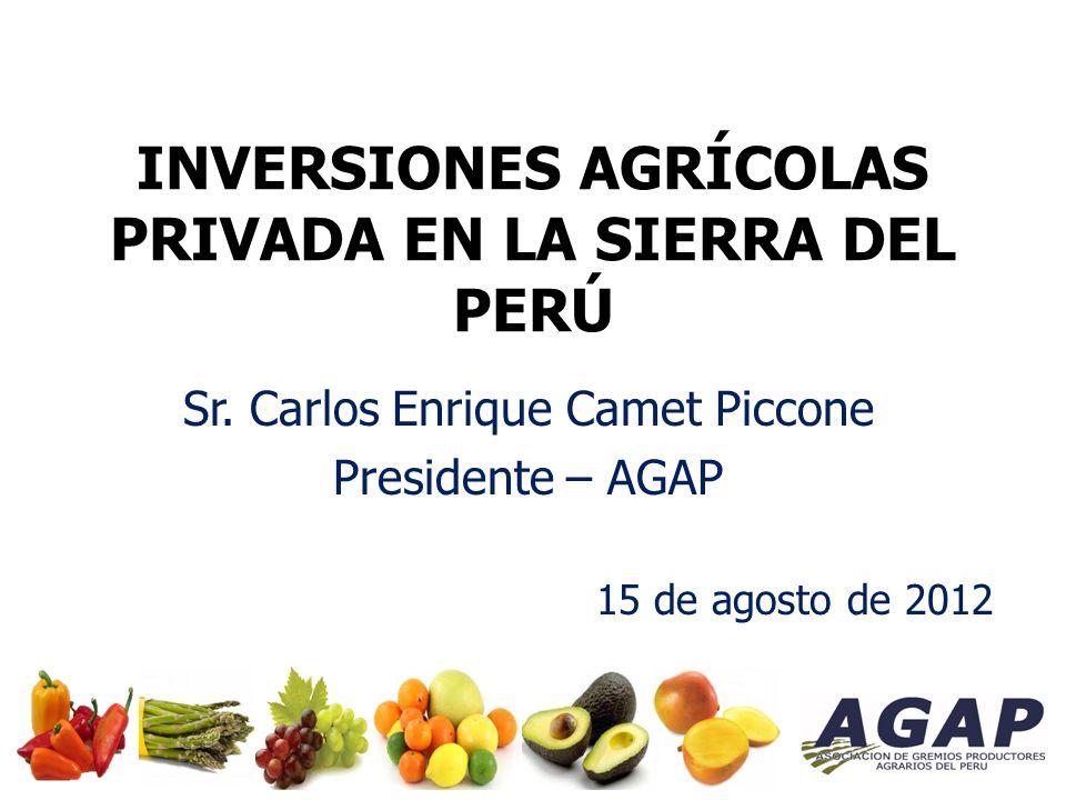 INVERSIONES AGRÍCOLAS PRIVADA EN LA SIERRA DEL PERÚ Sr.