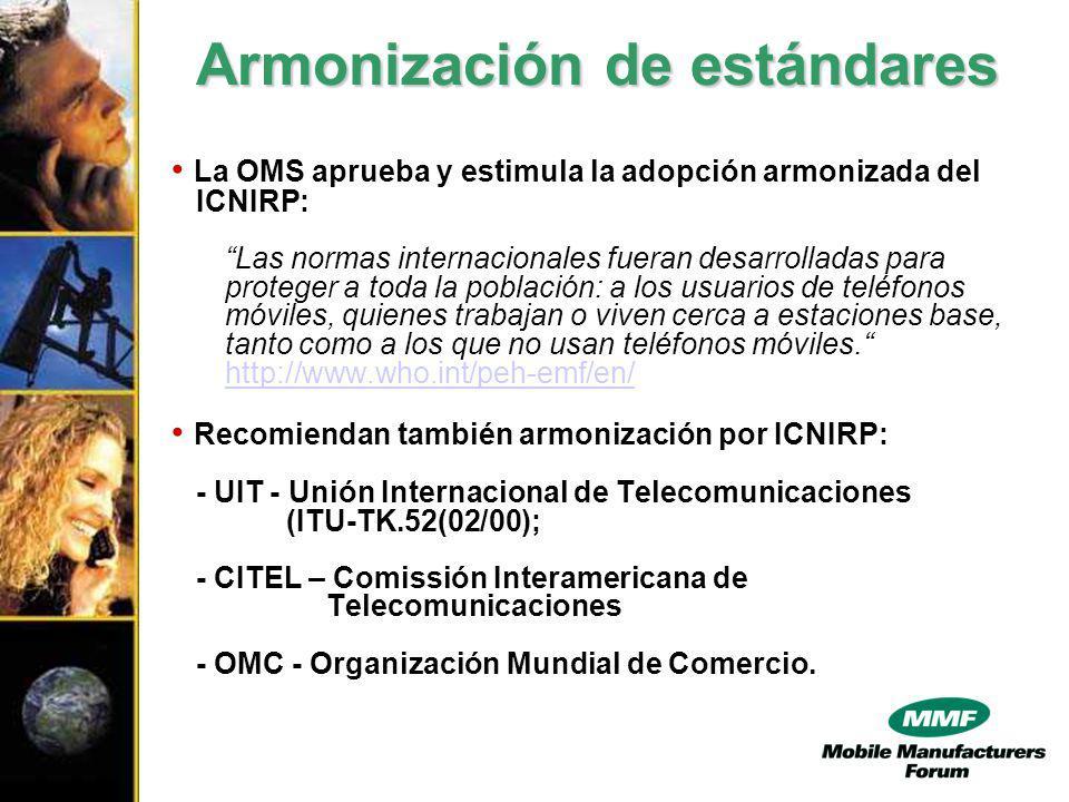 La OMS aprueba y estimula la adopción armonizada del ICNIRP: Las normas internacionales fueran desarrolladas para proteger a toda la población: a los usuarios de teléfonos móviles, quienes trabajan o viven cerca a estaciones base, tanto como a los que no usan teléfonos móviles.