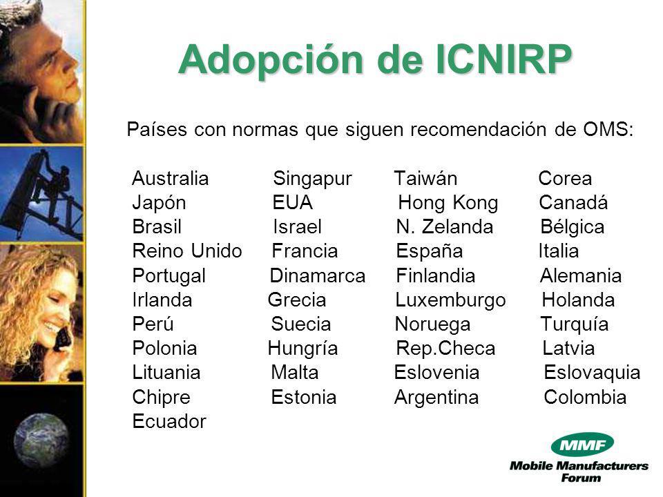 Adopción de ICNIRP Países con normas que siguen recomendación de OMS: Australia Singapur Taiwán Corea Japón EUA Hong Kong Canadá Brasil Israel N.