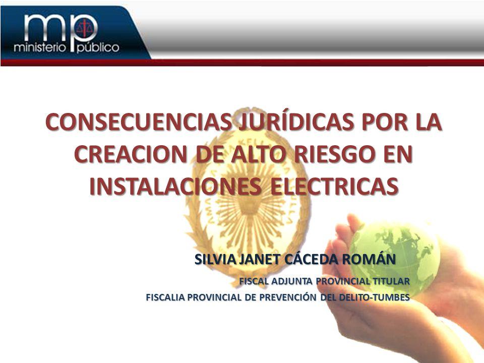 CONSECUENCIAS JURÍDICAS POR LA CREACION DE ALTO RIESGO EN INSTALACIONES ELECTRICAS SILVIA JANET CÁCEDA ROMÁN SILVIA JANET CÁCEDA ROMÁN FISCAL ADJUNTA PROVINCIAL TITULAR FISCALIA PROVINCIAL DE PREVENCIÓN DEL DELITO-TUMBES