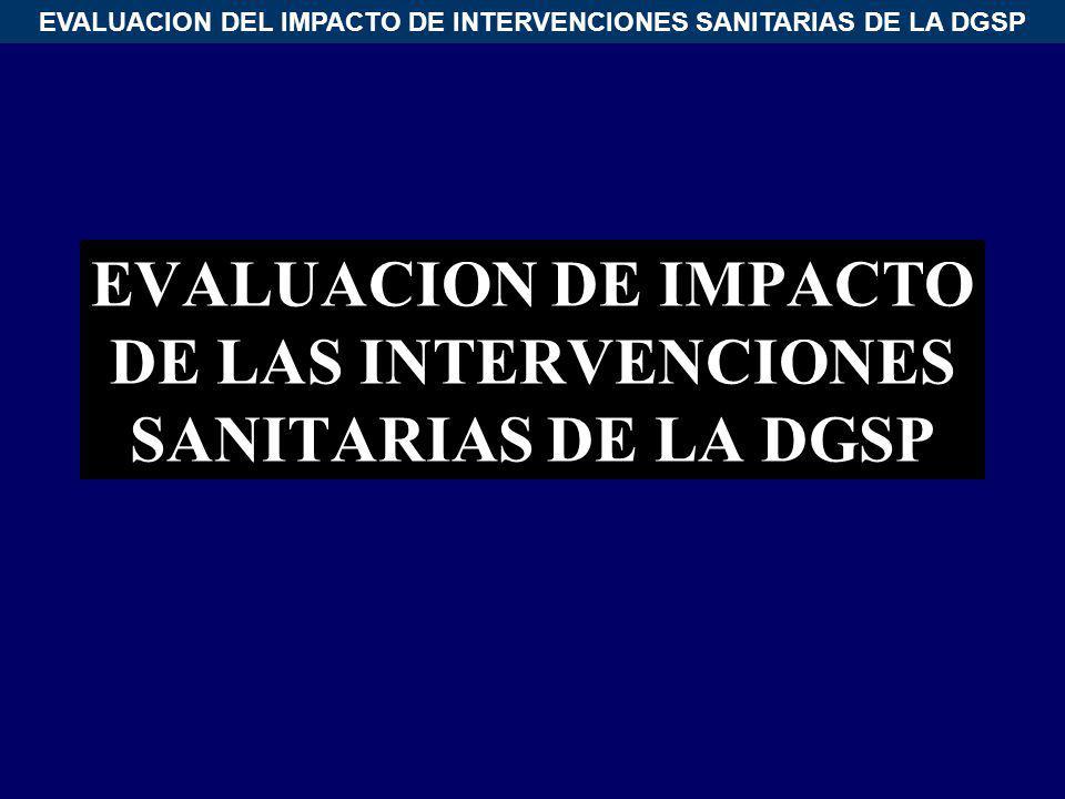EVALUACION DEL IMPACTO DE INTERVENCIONES SANITARIAS DE LA DGSP EVALUACION DE IMPACTO DE LAS INTERVENCIONES SANITARIAS DE LA DGSP