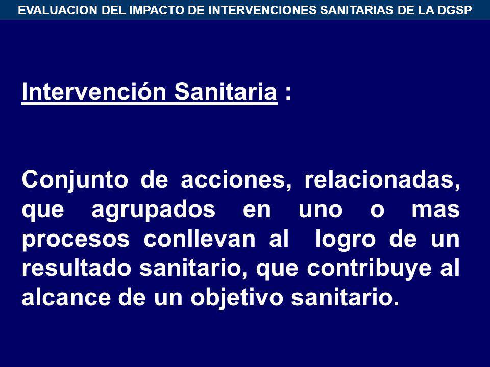 EVALUACION DEL IMPACTO DE INTERVENCIONES SANITARIAS DE LA DGSP Intervención Sanitaria : Conjunto de acciones, relacionadas, que agrupados en uno o mas
