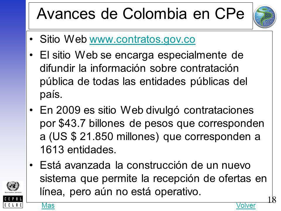 18 Avances de Colombia en CPe Sitio Web www.contratos.gov.cowww.contratos.gov.co El sitio Web se encarga especialmente de difundir la información sobr