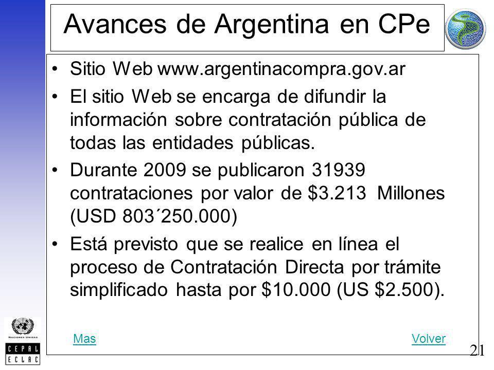 21 Avances de Argentina en CPe Sitio Web www.argentinacompra.gov.ar El sitio Web se encarga de difundir la información sobre contratación pública de t