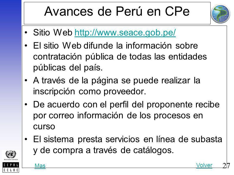 27 Avances de Perú en CPe Sitio Web http://www.seace.gob.pe/http://www.seace.gob.pe/ El sitio Web difunde la información sobre contratación pública de