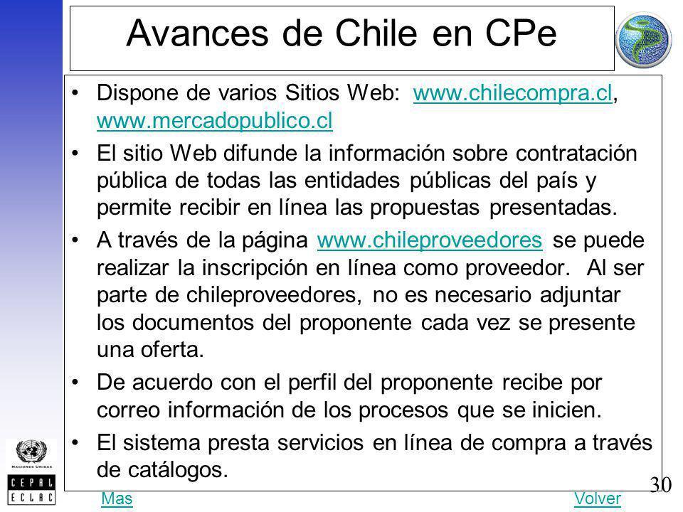 30 Avances de Chile en CPe Dispone de varios Sitios Web: www.chilecompra.cl, www.mercadopublico.clwww.chilecompra.cl www.mercadopublico.cl El sitio We