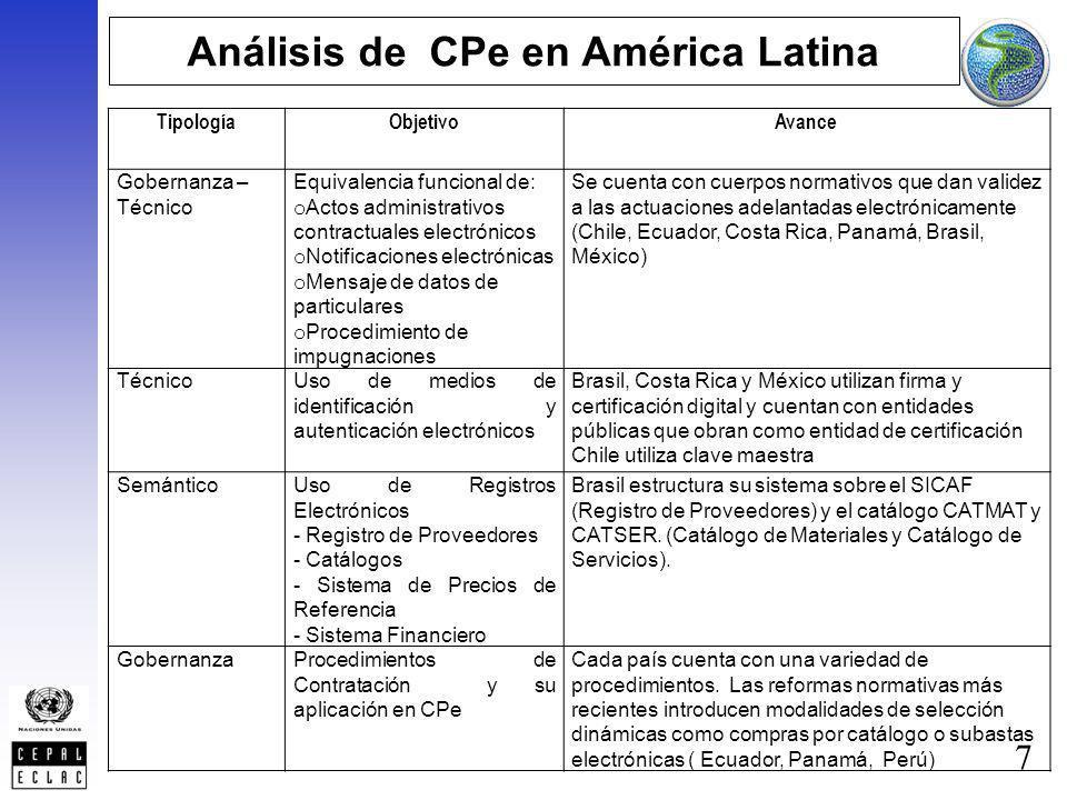 7 Análisis de CPe en América Latina TipologíaObjetivoAvance Gobernanza – Técnico Equivalencia funcional de: o Actos administrativos contractuales elec