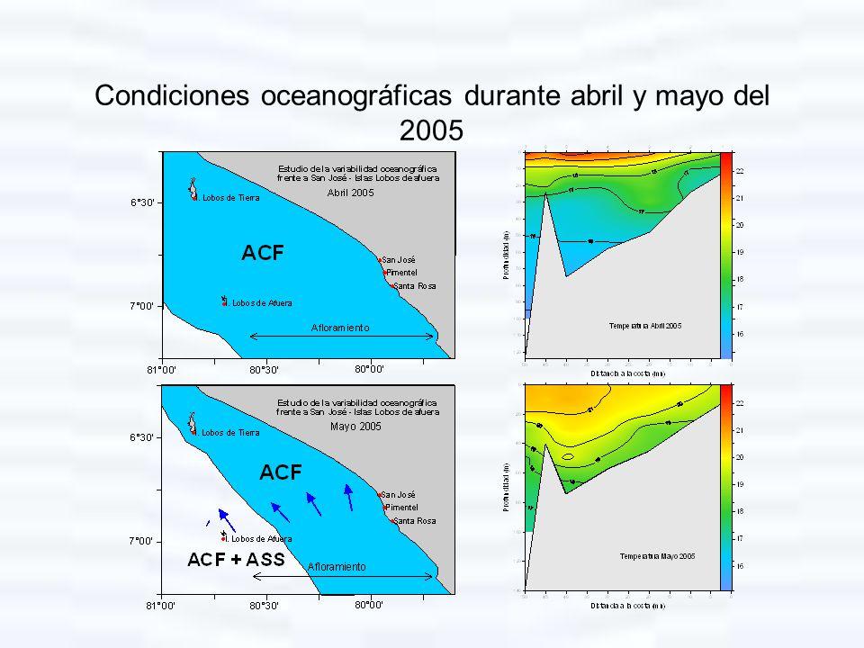 Condiciones oceanográficas durante abril y mayo del 2005