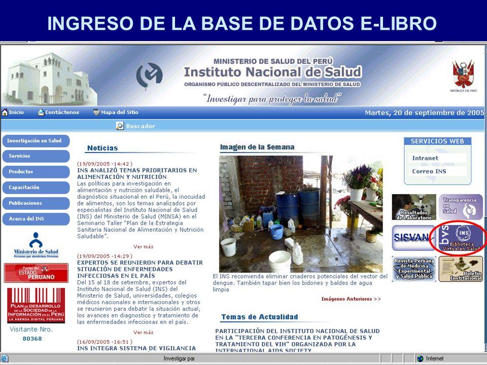 INGRESO DE LA BASE DE DATOS E-LIBRO