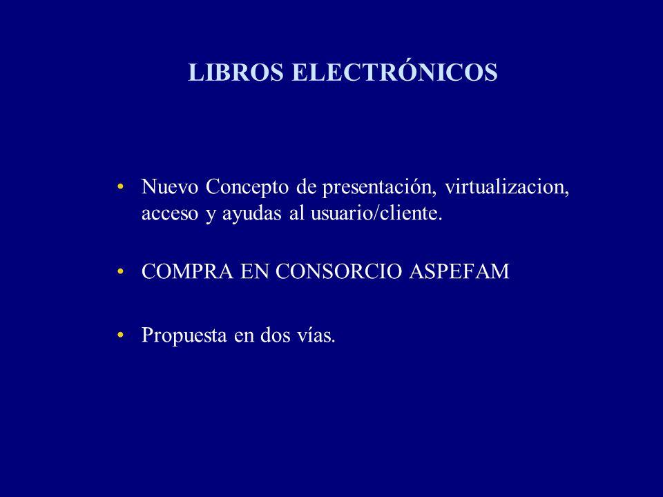 LIBROS ELECTRÓNICOS Nuevo Concepto de presentación, virtualizacion, acceso y ayudas al usuario/cliente. COMPRA EN CONSORCIO ASPEFAM Propuesta en dos v