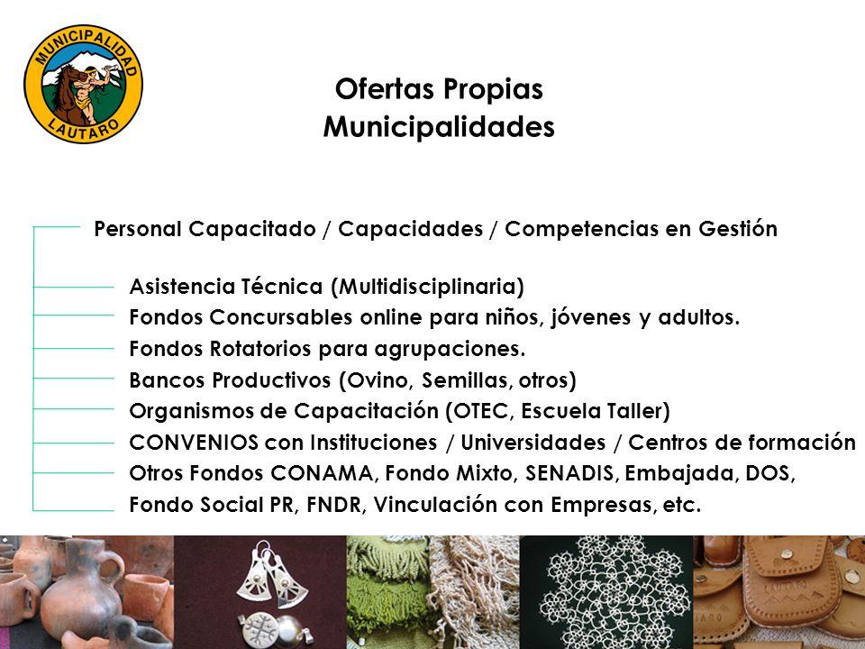 Ofertas Propias Municipalidades Personal Capacitado / Capacidades / Competencias en Gestión Asistencia Técnica (Multidisciplinaria) Fondos Concursables online para niños, jóvenes y adultos.