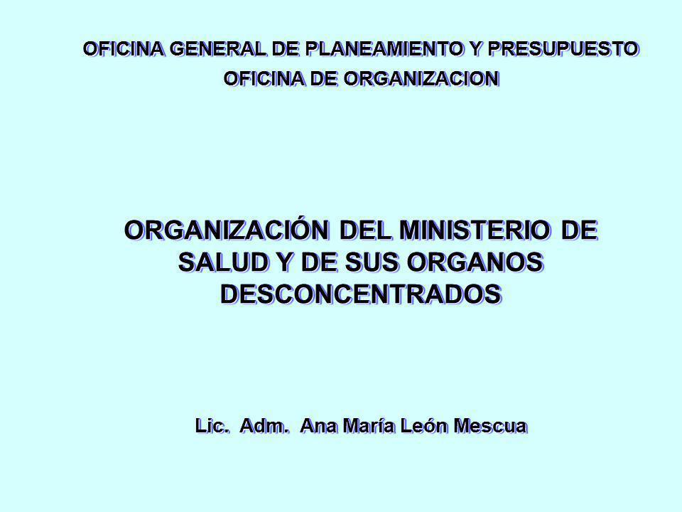 ORGANIZACIÓN DEL MINISTERIO DE SALUD Y DE SUS ORGANOS DESCONCENTRADOS Lic. Adm. Ana María León Mescua OFICINA GENERAL DE PLANEAMIENTO Y PRESUPUESTO OF
