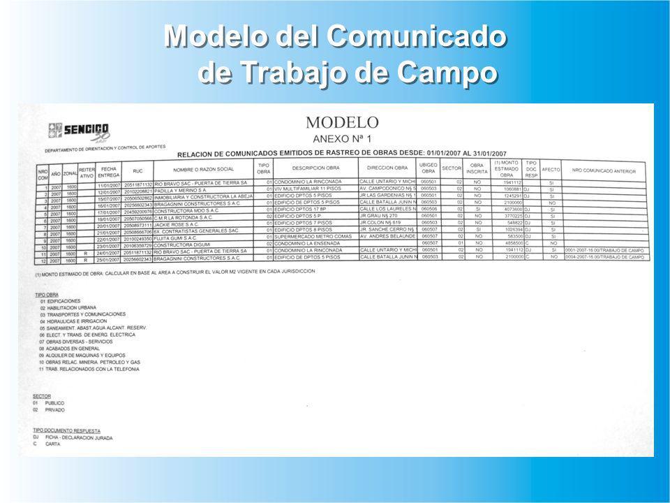 Modelo del Comunicado de Trabajo de Campo