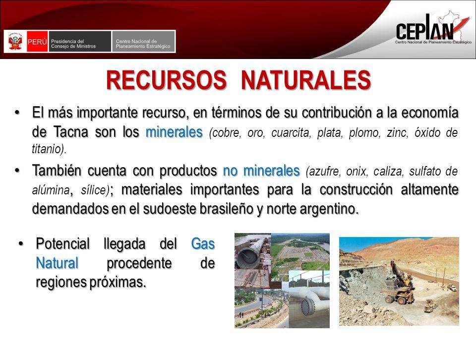RECURSOS NATURALES El más importante recurso, en términos de su contribución a la economía de Tacna son los minerales El más importante recurso, en términos de su contribución a la economía de Tacna son los minerales (cobre, oro, cuarcita, plata, plomo, zinc, óxido de titanio).