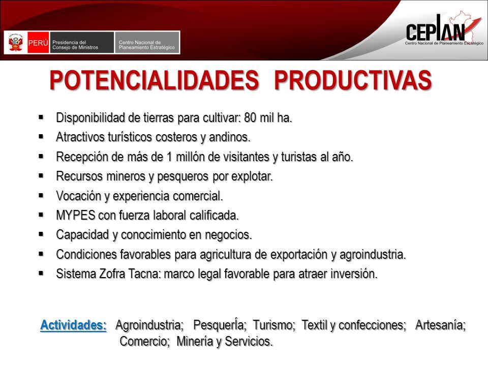 POTENCIALIDADES PRODUCTIVAS Disponibilidad de tierras para cultivar: 80 mil ha.