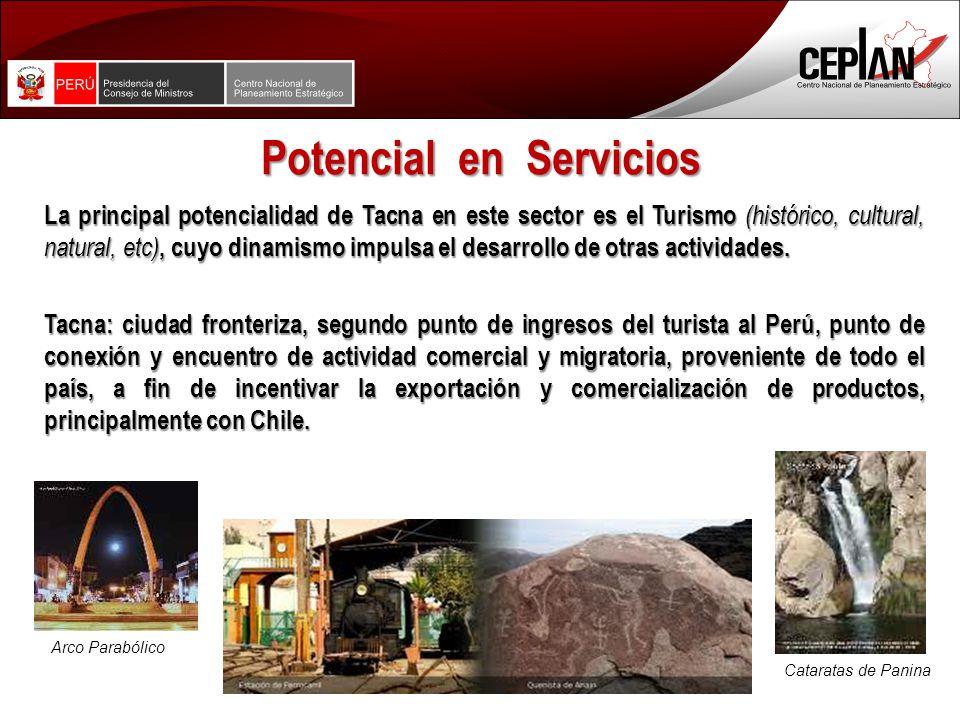 Potencial en Servicios La principal potencialidad de Tacna en este sector es el Turismo (histórico, cultural, natural, etc), cuyo dinamismo impulsa el desarrollo de otras actividades.