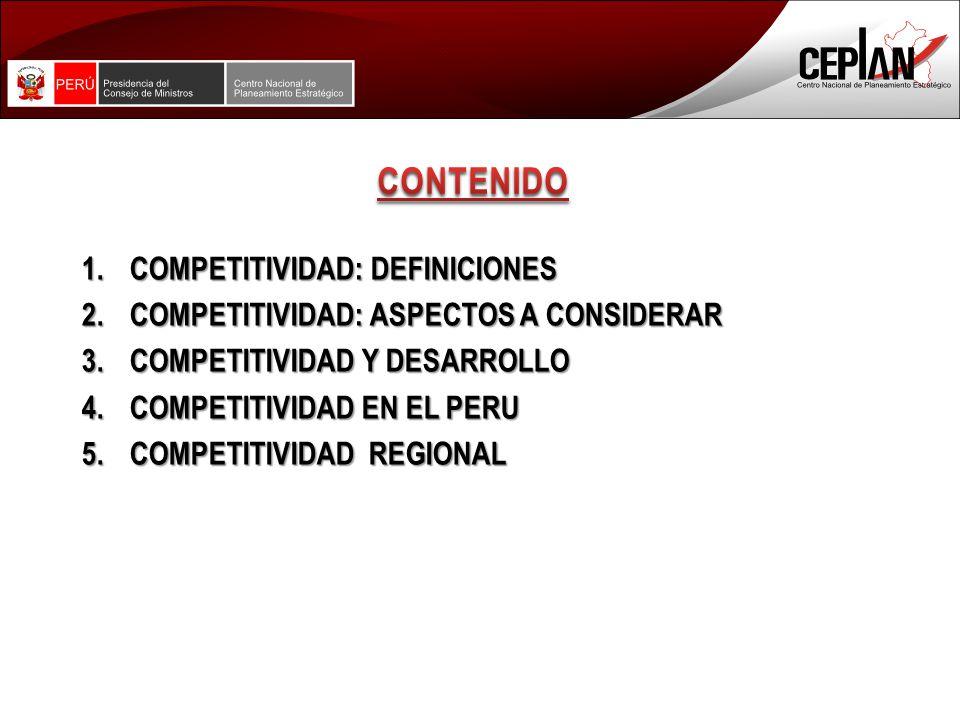 1.COMPETITIVIDAD: DEFINICIONES 2.COMPETITIVIDAD: ASPECTOS A CONSIDERAR 3.COMPETITIVIDAD Y DESARROLLO 4.COMPETITIVIDAD EN EL PERU 5.COMPETITIVIDAD REGIONAL