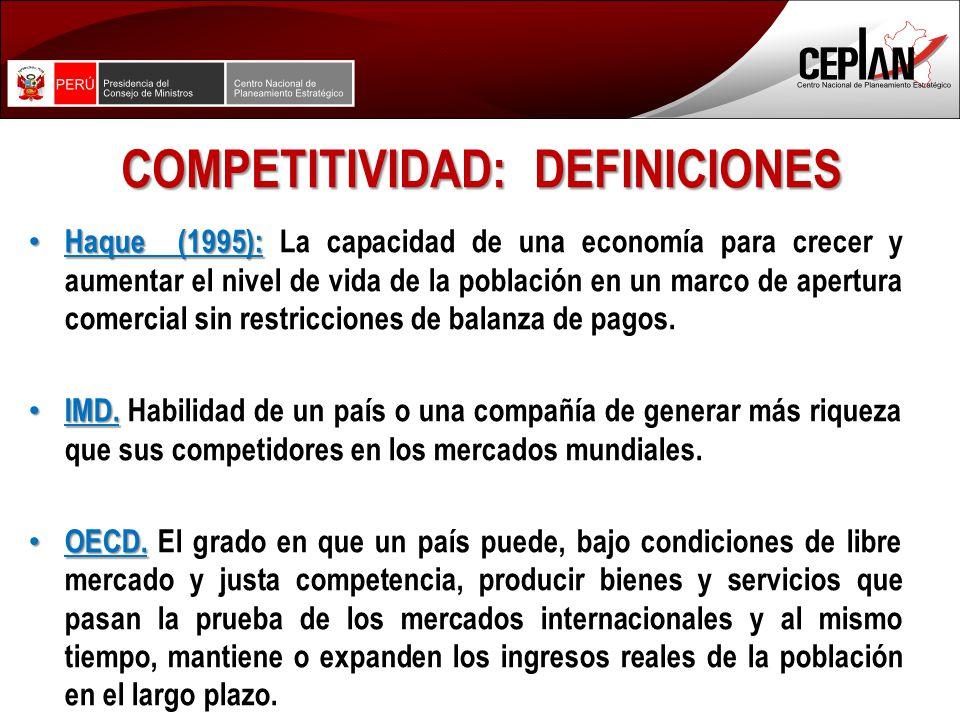 COMPETITIVIDAD: DEFINICIONES Haque (1995): Haque (1995): La capacidad de una economía para crecer y aumentar el nivel de vida de la población en un marco de apertura comercial sin restricciones de balanza de pagos.