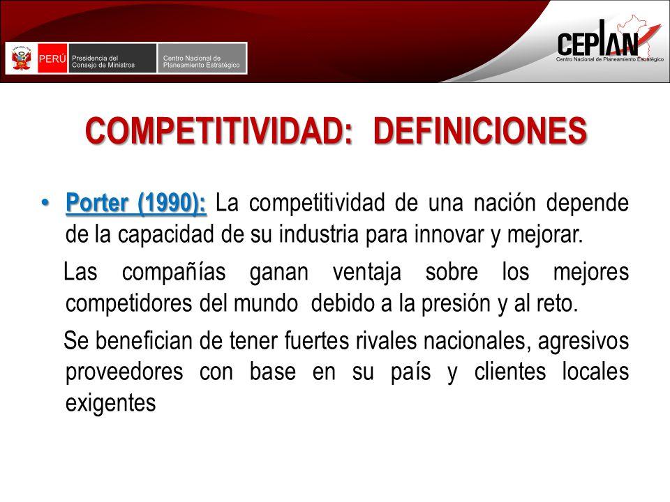 COMPETITIVIDAD: DEFINICIONES Porter (1990): Porter (1990): La competitividad de una nación depende de la capacidad de su industria para innovar y mejorar.