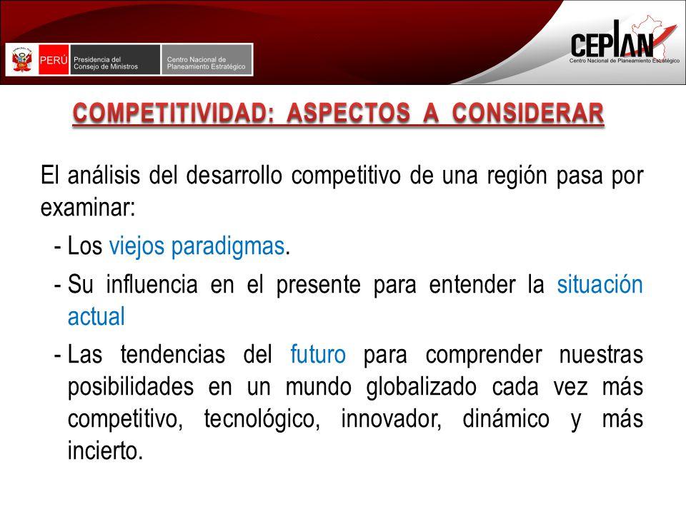 El análisis del desarrollo competitivo de una región pasa por examinar: -Los viejos paradigmas.