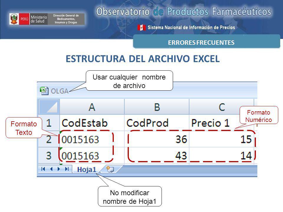 ESTRUCTURA DEL ARCHIVO EXCEL ERRORES FRECUENTES Formato Texto Formato Numérico No modificar nombre de Hoja1 Usar cualquier nombre de archivo