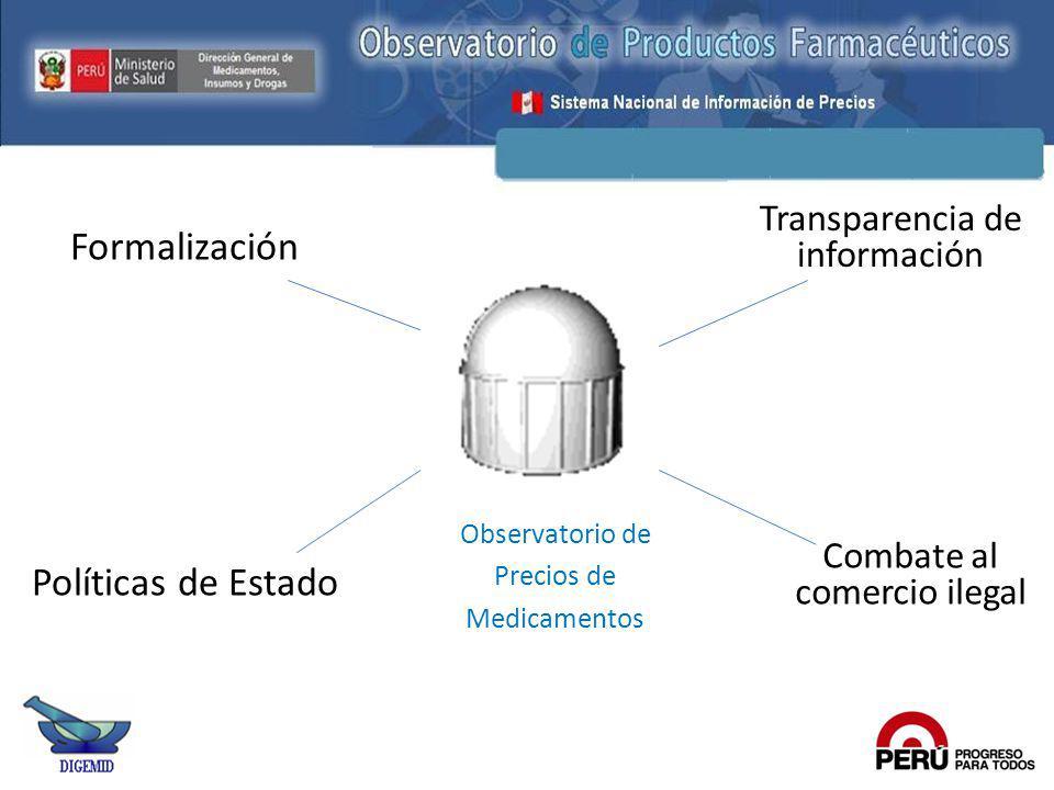 Transparencia de información Combate al comercio ilegal Formalización Políticas de Estado Observatorio de Precios de Medicamentos