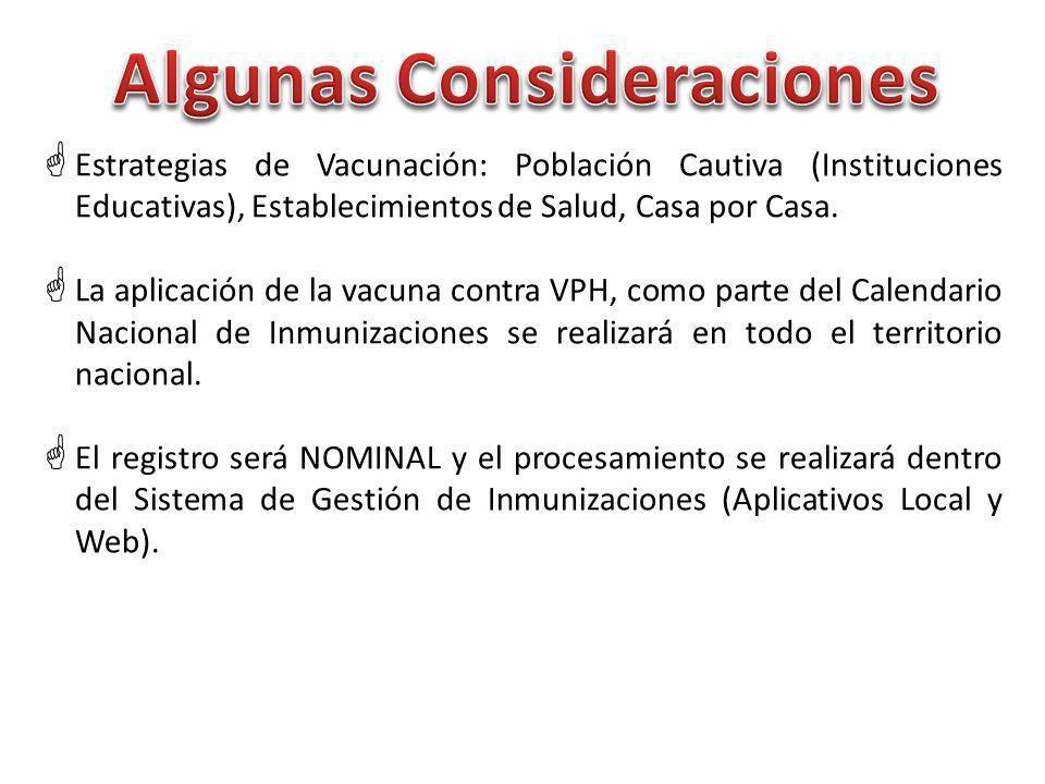 Estrategias de Vacunación: Población Cautiva (Instituciones Educativas), Establecimientos de Salud, Casa por Casa.