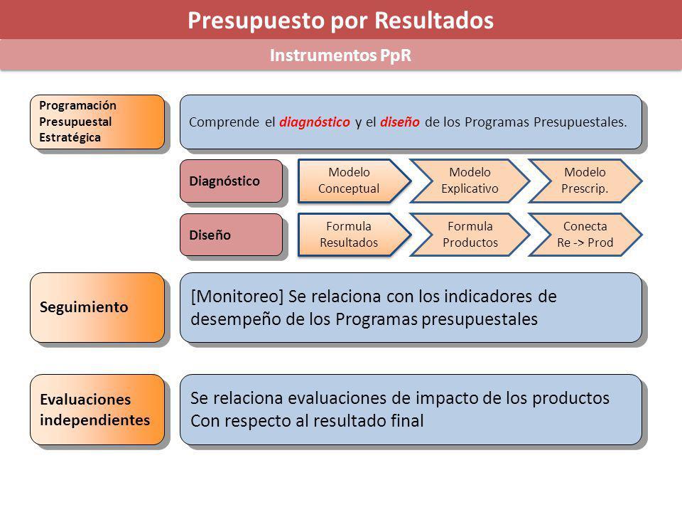 Presupuesto por Resultados Instrumentos PpR Programación Presupuestal Estratégica Programación Presupuestal Estratégica Seguimiento Evaluaciones independientes Evaluaciones independientes Comprende el diagnóstico y el diseño de los Programas Presupuestales.