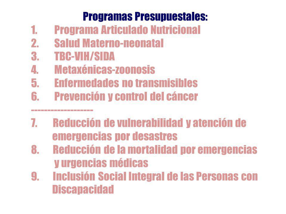 Programas Presupuestales: 1.Programa Articulado Nutricional 2.Salud Materno-neonatal 3.TBC-VIH/SIDA 4.Metaxénicas-zoonosis 5.Enfermedades no transmisibles 6.Prevención y control del cáncer ------------------- 7.