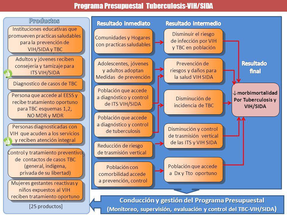 morbimortalidad Por Tuberculosis y VIH/SIDA Disminuir el riesgo de infección por VIH y TBC en población Disminuir el riesgo de infección por VIH y TBC en población Programa Presupuestal Tuberculosis-VIH/SIDA Prevención de riesgos y daños para la salud VIH SIDA Prevención de riesgos y daños para la salud VIH SIDA Disminución de incidencia de TBC Disminución de incidencia de TBC Disminución y control de trasmisión vertical de las ITS y VIH SIDA Disminución y control de trasmisión vertical de las ITS y VIH SIDA Población que accede a Dx y Tto oportuno Población que accede a Dx y Tto oportuno Comunidades y Hogares con practicas saludables Comunidades y Hogares con practicas saludables Adolescentes, jóvenes y adultos adoptan Medidas de prevención Adolescentes, jóvenes y adultos adoptan Medidas de prevención Población que accede a diagnóstico y control de tuberculosis Población que accede a diagnóstico y control de tuberculosis Población que accede a diagnóstico y control de ITS VIH/SIDA Población que accede a diagnóstico y control de ITS VIH/SIDA Población con comorbilidad accede a prevención, control Población con comorbilidad accede a prevención, control Personas diagnosticadas con VIH que acuden a los servicios y reciben atención integral Personas diagnosticadas con VIH que acuden a los servicios y reciben atención integral [25 productos] Conducción y gestión del Programa Presupuestal (Monitoreo, supervisión, evaluación y control del TBC-VIH/SIDA ) Adultos y jóvenes reciben consejería y tamizaje para ITS VIH/SIDA Adultos y jóvenes reciben consejería y tamizaje para ITS VIH/SIDA Diagnostico de casos de TBC Persona que accede al EESS y recibe tratamiento oportuno para TBC esquemas 1,2, NO MDR y MDR Persona que accede al EESS y recibe tratamiento oportuno para TBC esquemas 1,2, NO MDR y MDR Instituciones educativas que promueven practicas saludables para la prevención de VIH/SIDA y TBC Instituciones educativas que promueven practicas saludables para la prevención de VIH/