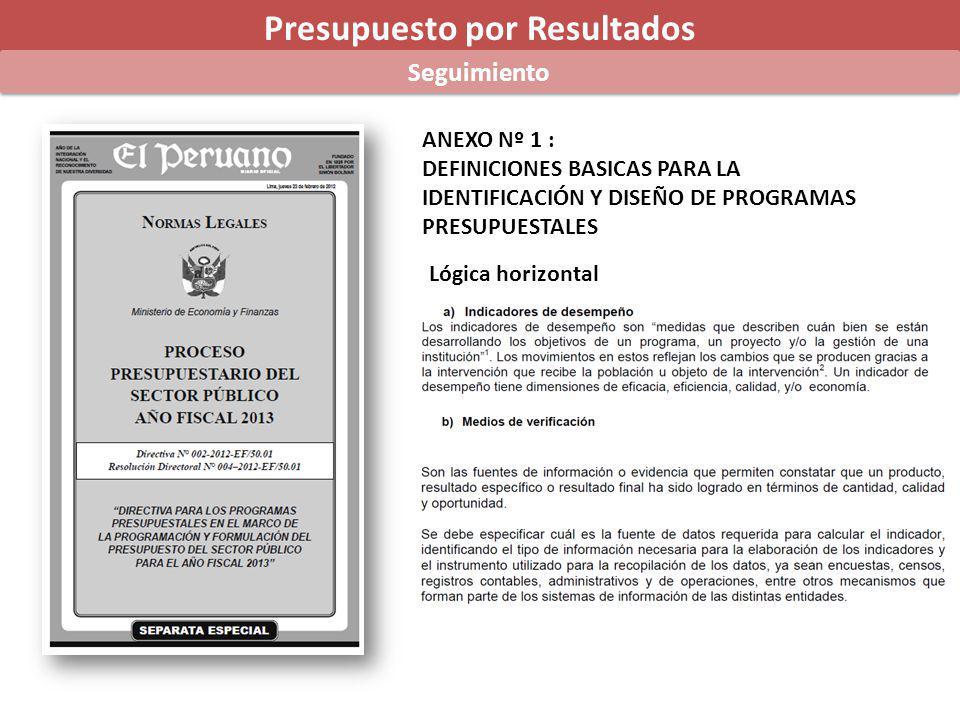 Presupuesto por Resultados Seguimiento ANEXO Nº 1 : DEFINICIONES BASICAS PARA LA IDENTIFICACIÓN Y DISEÑO DE PROGRAMAS PRESUPUESTALES Lógica horizontal