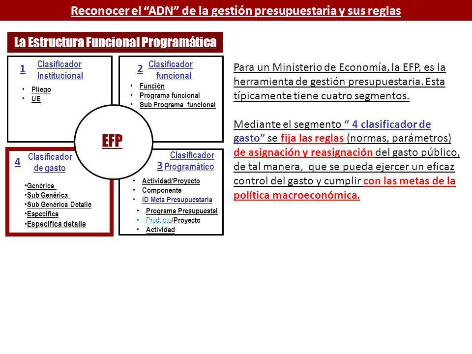 Clasificador Institucional Pliego UE Clasificador funcional Clasificador Programático Clasificador de gasto Función Programa funcional Sub Programa funcional Genérica Sub Genérica Sub Genérica Detalle Especifica Especifica detalle EFP 1 2 3 4 La Estructura Funcional Programática Para un Ministerio de Economía, la EFP, es la herramienta de gestión presupuestaria.