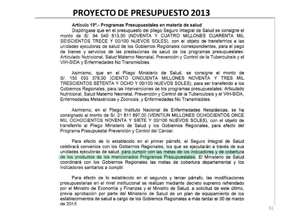 62 PROYECTO DE PRESUPUESTO 2013