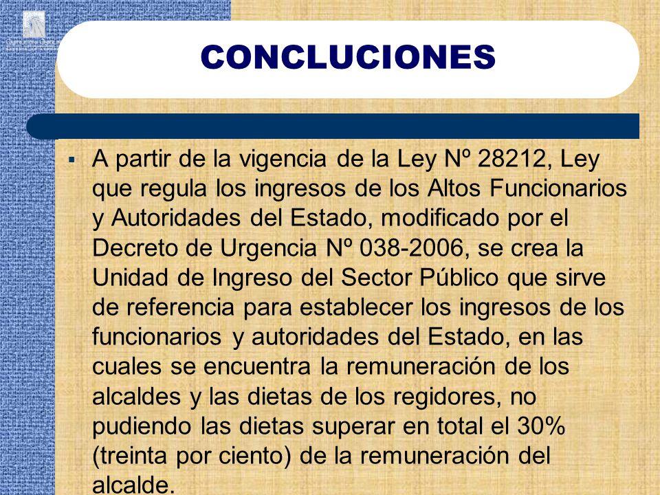 A partir de la vigencia de la Ley Nº 28212, Ley que regula los ingresos de los Altos Funcionarios y Autoridades del Estado, modificado por el Decreto