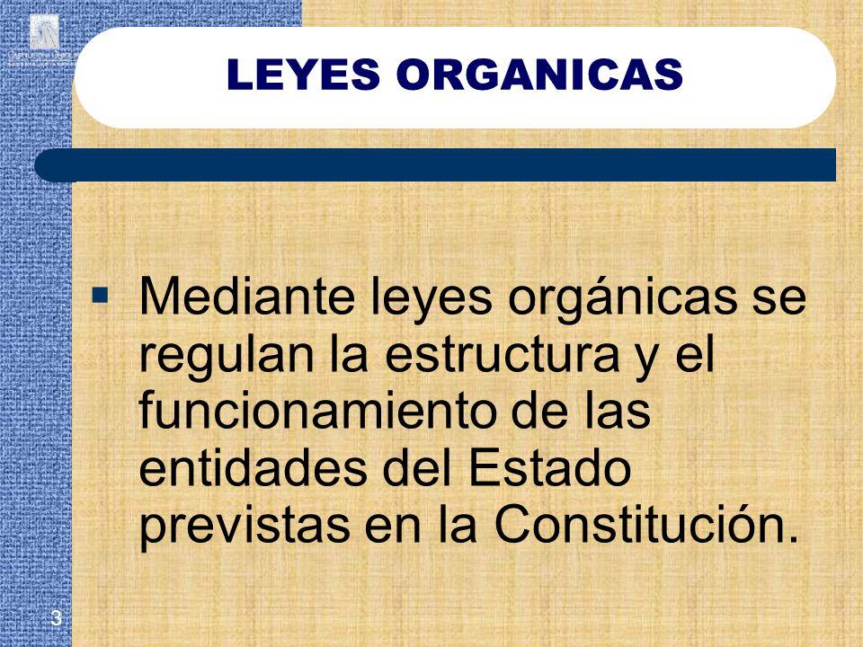 Mediante leyes orgánicas se regulan la estructura y el funcionamiento de las entidades del Estado previstas en la Constitución. 3 LEYES ORGANICAS