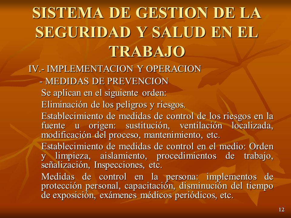 12 IV.- IMPLEMENTACION Y OPERACION - MEDIDAS DE PREVENCION - MEDIDAS DE PREVENCION Se aplican en el siguiente orden: Eliminación de los peligros y riesgos.