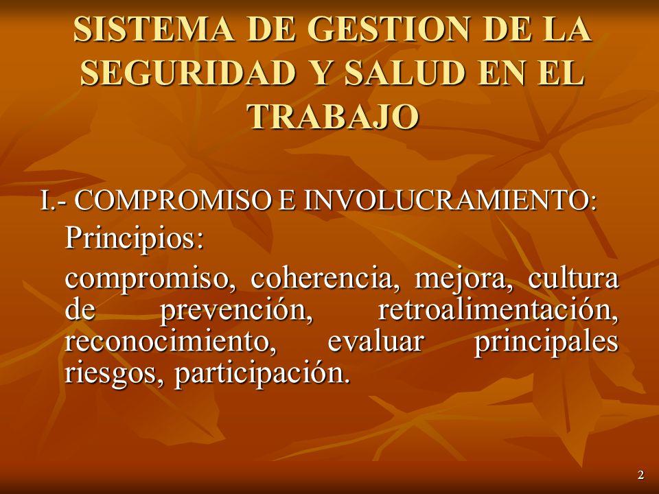 2 I.- COMPROMISO E INVOLUCRAMIENTO: Principios: compromiso, coherencia, mejora, cultura de prevención, retroalimentación, reconocimiento, evaluar principales riesgos, participación.