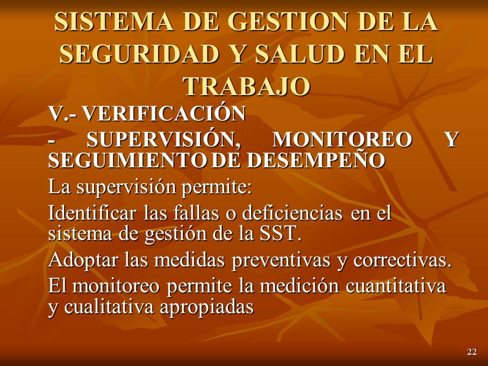 22 V.- VERIFICACIÓN - SUPERVISIÓN, MONITOREO Y SEGUIMIENTO DE DESEMPEÑO La supervisión permite: Identificar las fallas o deficiencias en el sistema de gestión de la SST.