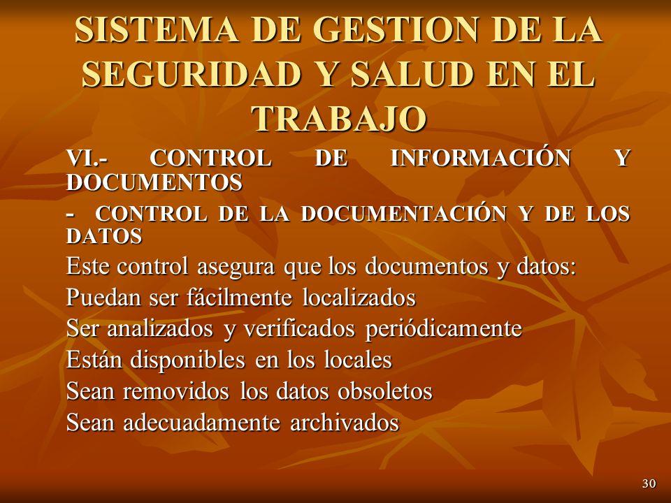 30 VI.- CONTROL DE INFORMACIÓN Y DOCUMENTOS - CONTROL DE LA DOCUMENTACIÓN Y DE LOS DATOS Este control asegura que los documentos y datos: Puedan ser fácilmente localizados Ser analizados y verificados periódicamente Están disponibles en los locales Sean removidos los datos obsoletos Sean adecuadamente archivados SISTEMA DE GESTION DE LA SEGURIDAD Y SALUD EN EL TRABAJO