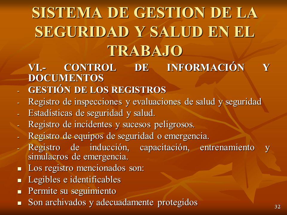 32 VI.- CONTROL DE INFORMACIÓN Y DOCUMENTOS - GESTIÓN DE LOS REGISTROS - Registro de inspecciones y evaluaciones de salud y seguridad - Estadísticas de seguridad y salud.