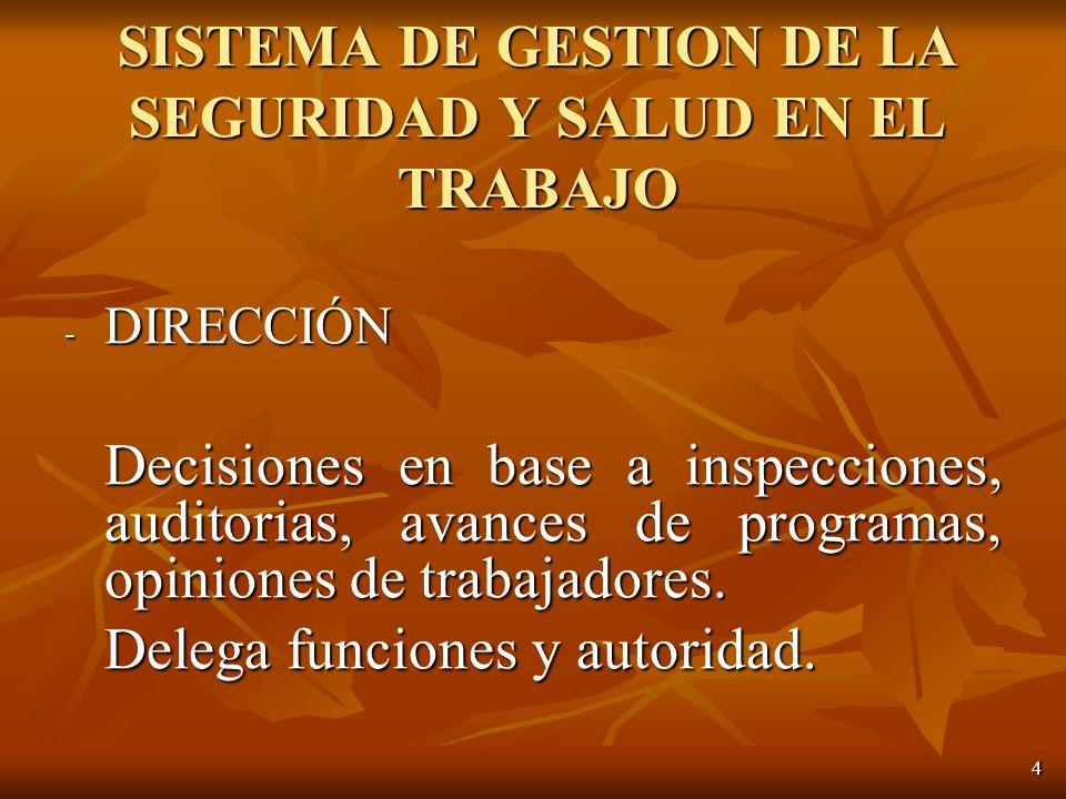 4 - DIRECCIÓN Decisiones en base a inspecciones, auditorias, avances de programas, opiniones de trabajadores.