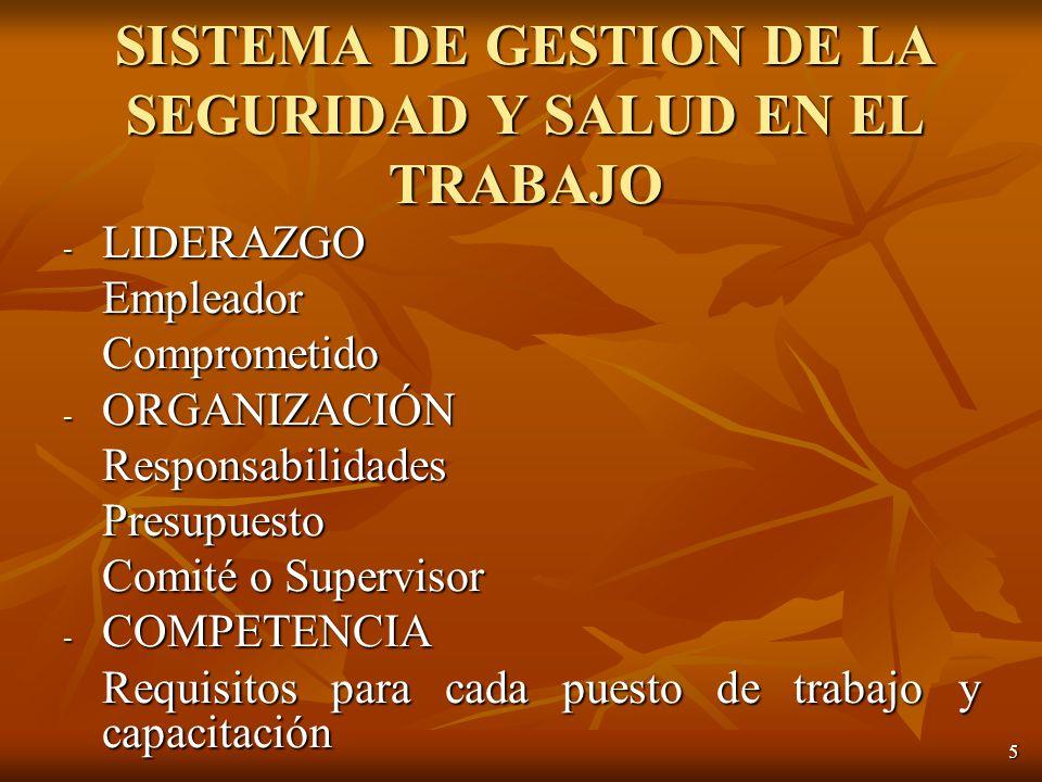 5 - LIDERAZGO EmpleadorComprometido - ORGANIZACIÓN ResponsabilidadesPresupuesto Comité o Supervisor - COMPETENCIA Requisitos para cada puesto de trabajo y capacitación SISTEMA DE GESTION DE LA SEGURIDAD Y SALUD EN EL TRABAJO