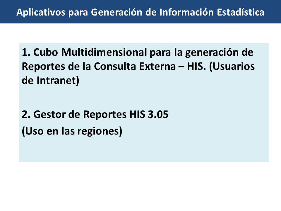 Aplicativos para Generación de Información Estadística 1. Cubo Multidimensional para la generación de Reportes de la Consulta Externa – HIS. (Usuarios