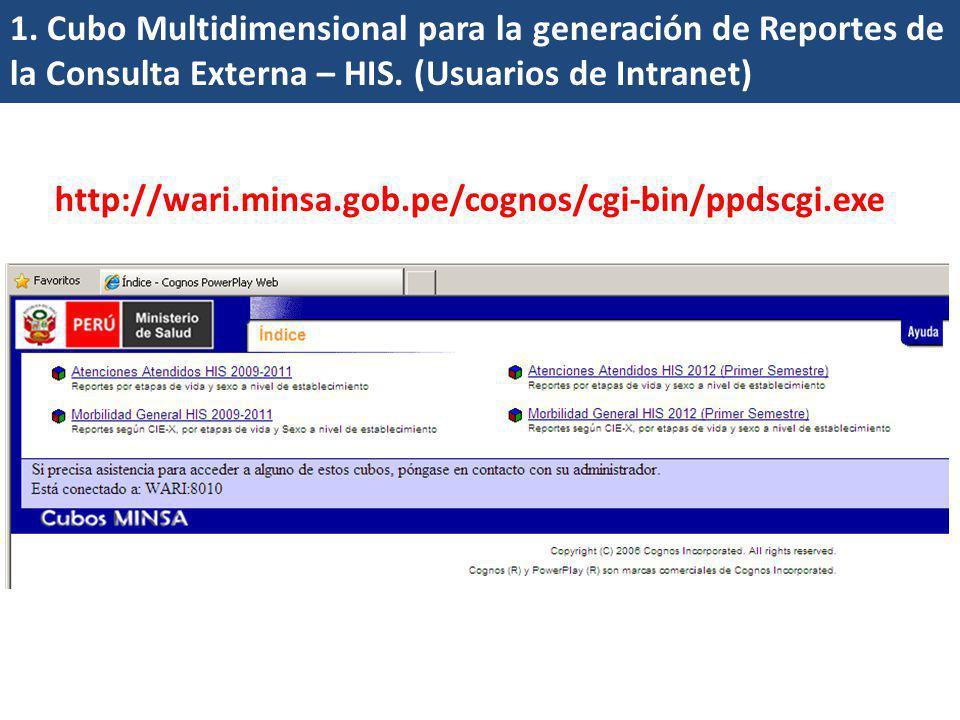 1. Cubo Multidimensional para la generación de Reportes de la Consulta Externa – HIS. (Usuarios de Intranet) http://wari.minsa.gob.pe/cognos/cgi-bin/p