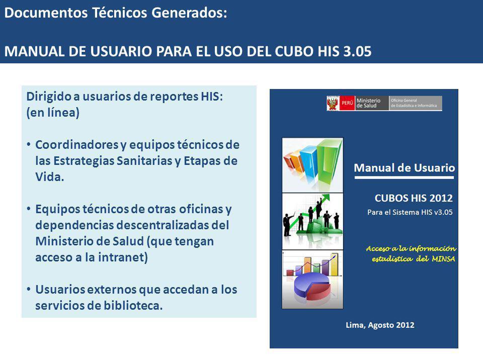 Documentos Técnicos Generados: MANUAL DE USUARIO PARA EL USO DEL CUBO HIS 3.05 Dirigido a usuarios de reportes HIS: (en línea) Coordinadores y equipos