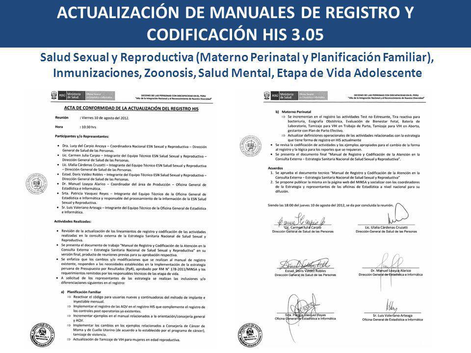ACTUALIZACIÓN DE MANUALES DE REGISTRO Y CODIFICACIÓN HIS 3.05 Salud Sexual y Reproductiva (Materno Perinatal y Planificación Familiar), Inmunizaciones