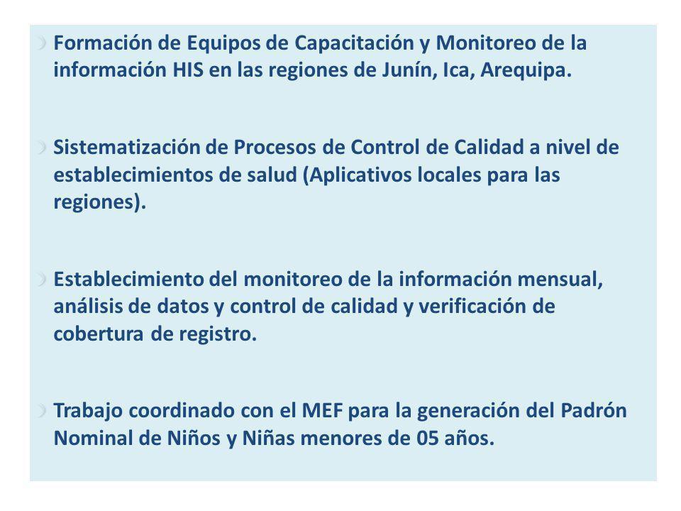 Formación de Equipos de Capacitación y Monitoreo de la información HIS en las regiones de Junín, Ica, Arequipa. Sistematización de Procesos de Control