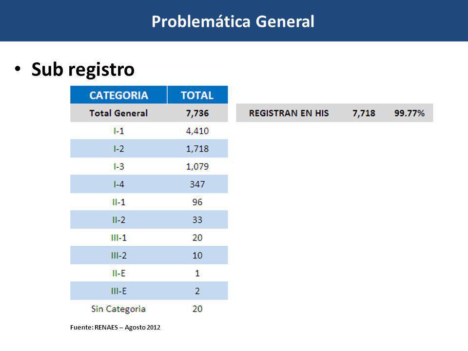 Problemática General Sub registro Fuente: RENAES – Al 27 Agosto 2012 Fuente: RENAES – Agosto 2012